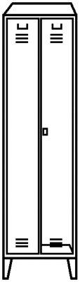 Stahlspind - Unterkunftschrank mit Stollenfüßen - lichtgrau RAL 7035