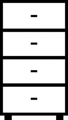 Mauser Hängeregistraturschrank, Bügelgriffe - 4 Schübe, Standardeinzug, 2-bahnig