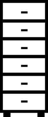 Mauser Karteischrank, Bügelgriffe - 6 Schübe, Sanfteinzug, 2-bahnig