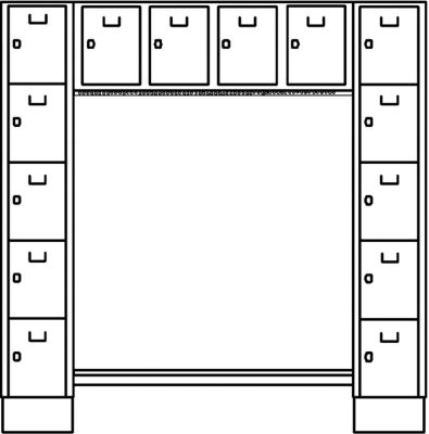Wolf Garderobenschrank, offen - Gesamt-HxB 1850 x 1800 mm, 14 Fächer