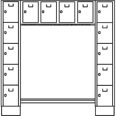Wolf Garderobenschrank, offen - Gesamt-HxB 1850 x 1800 mm, 14 Fächer - basaltgrau RAL 7012
