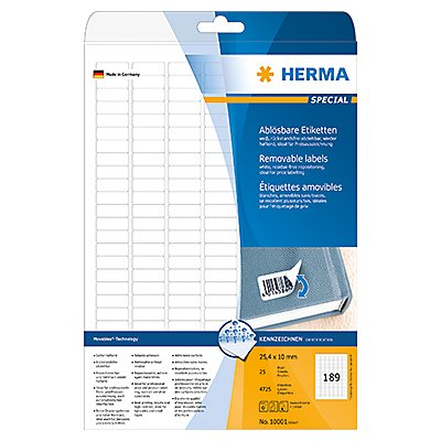 HERMA Haftetikett 10001 25,4x10mm weiß 4.725 St./Pack.