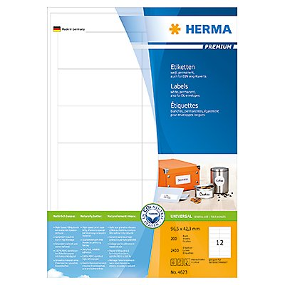 HERMA Etikett PREMIUM 4623 96,5x42,3mm weiß 2.400 St./Pack.