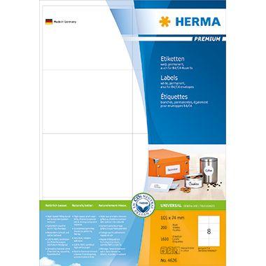 HERMA Etikett PREMIUM 4626 105x74mm weiß 1.600 St./Pack.