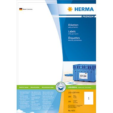 HERMA Etikett PREMIUM 4631 210x297mm weiß 200 St./Pack.