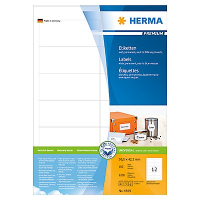 HERMA Etikett PREMIUM 4669 97,0x42,3mm weiß 1.200 St./Pack.