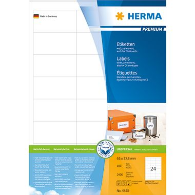 HERMA Etikett PREMIUM 4670 66x33,8mm weiß 2.400 St./Pack.