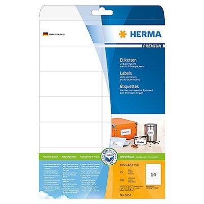 HERMA Etikett PREMIUM 5057 105x42,3mm weiß 350 St./Pack.
