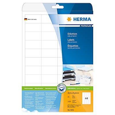 HERMA Etikett PREMIUM 5051 48,3x25,4mm weiß 1.100 St./Pack.
