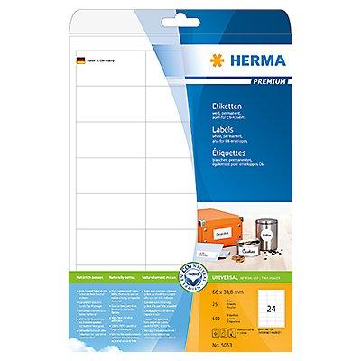 HERMA Etikett PREMIUM 5053 66x33,8mm weiß 600 St./Pack.