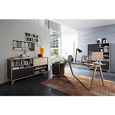 Certeo Palma Schreibtisch | HxBxT 75 x 160 x 80 cm | Anthrazit/Sonoma-Eiche