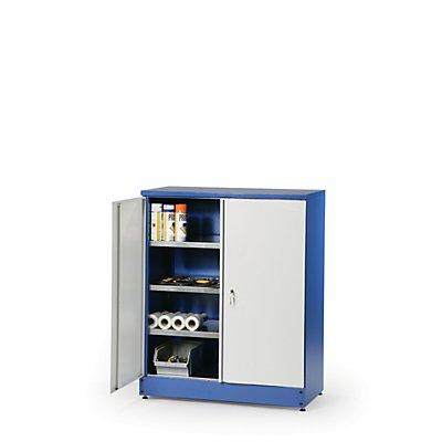 Universal-Werkzeugschrank | Gehäuse Grau | Türen Blau