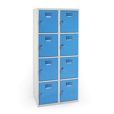 Schließfachschrank | HxBxT 180 x 80 x 50 cm | Gehäuse Grau | Türen Blau