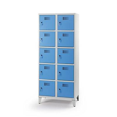 Schließfachschrank | 10 abschließbare Abteile | Blau