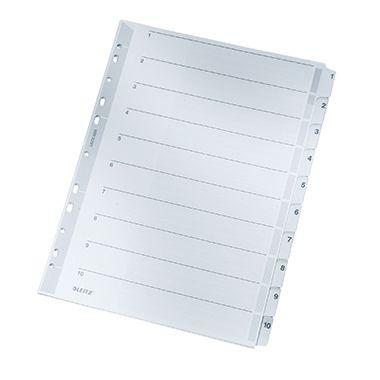 Leitz Register 43240000 DIN A4 1-10 volle Höhe 160g Karton grau