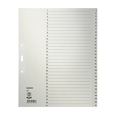 Leitz Register 12310085 DIN A4 1-31 volle Höhe Papier grau