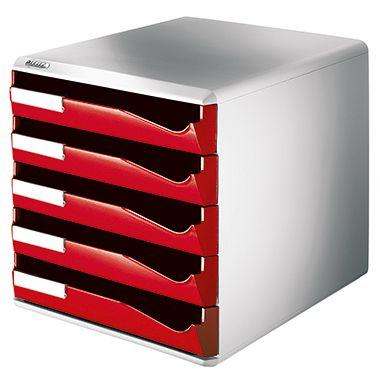 Leitz Schubladenbox 52800025 DIN A4 5Schubfächer lichtgr/rt