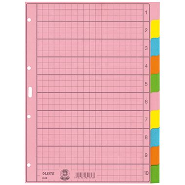 Leitz Register 43400000 blanko DIN A4 10teilig Papier sortiert