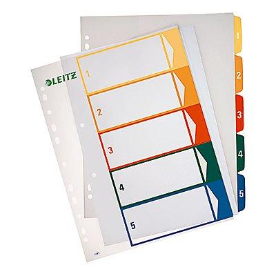 Leitz Register 12910000 DIN A4 1-5 volle Höhe PP farbig/transparent