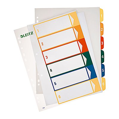 Leitz Register 12920000 DIN A4 1-6 volle Höhe PP farbig/transparent