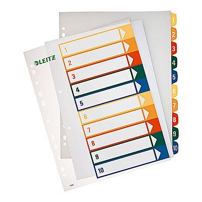 Leitz Register 12930000 DIN A4 1-10 volle Höhe PP farbig/transparent