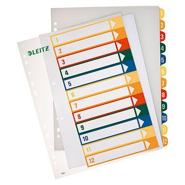 Leitz Register 12940000 DIN A4 1-12 volle Höhe PP farbig/transparent