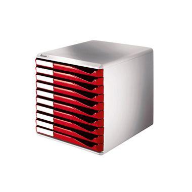 Leitz Schubladenbox 52810025 DIN A4 10Schubfächer lichtgr/rt