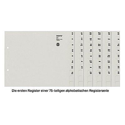 Leitz Registerserie 13510085 DIN A4 A-Z für 75Ordner Tauenpapier grau