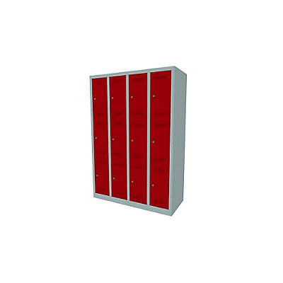 Bisley MonoBloc™ Garderobenschrank - 4 Abteile Breite 300 mm, 12 Fächer
