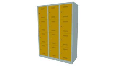 Bisley MonoBloc™ Schließfachschrank - 3 Abteile Breite 400 mm, 16 Fächer