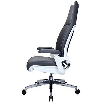 Design-Chefsessel Kinetix - mit Lederbezug und hoher Rückenlehne, grau
