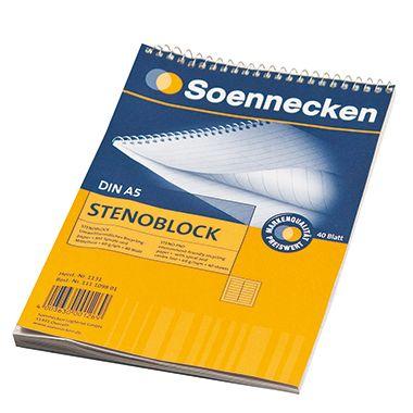 Soennecken Stenoblock 1131 DIN A5 mit Mittellinie 40Blatt weiß
