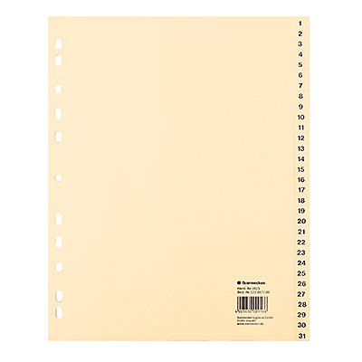 Soennecken Register 1925 DIN A4 1-31 volle Höhe Tauenpapier chamois
