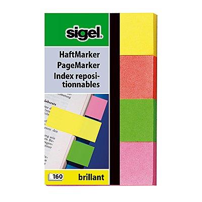 Sigel Haftmarker Brillant HN630 20x50mm farbig sortiert 4 St./Pack.