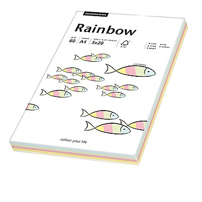 Rainbow Kopierpapier  A4 80g  sortiert 100 Bl./Pack.
