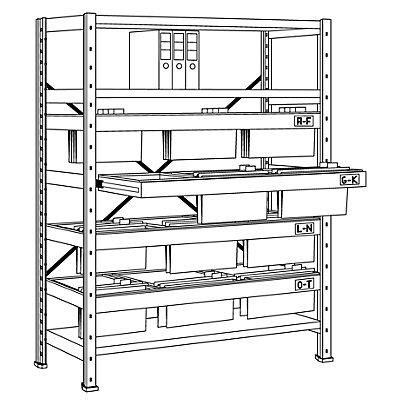 Scholz Hängeregistratur-Steckregal - Höhe 1920 mm, 3-bahnige Hängerahmen - Anbauregal, Bodentiefe 400 mm