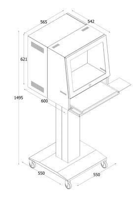 QUIPO Computersäule - für Bildschirm bis 20″ - blaugrau