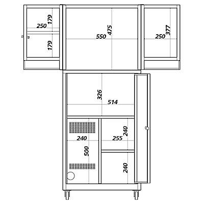 QUIPO PC-Pult mit ausklappbaren Ablagefächern - HxBxT 1420 x 600 x 600 mm - lichtgrau