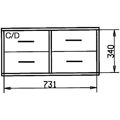 Holzschubladenblock - Breite 767 mm, 4 Schubladen