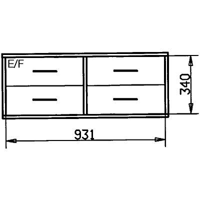 Wedeka Holzschubladenblock - Breite 967 mm, 4 Schubladen