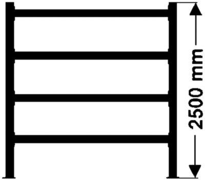 Weitspannregal, mit verzinkten Stahlböden, Höhe 2500 mm - Tiefe 600 mm, Traversenlänge 2700 mm