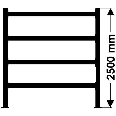 Weitspannregal, mit verzinkten Stahlböden, Höhe 2500 mm - Tiefe 1100 mm, Traversenlänge 2200 mm