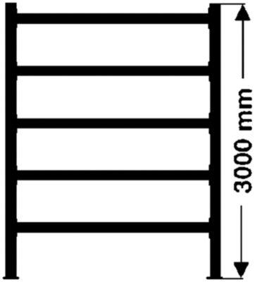 Weitspannregal, mit verzinkten Stahlböden, Höhe 3000 mm - Tiefe 1100 mm, Traversenlänge 2200 mm