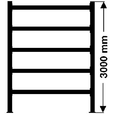 Weitspannregal, mit verzinkten Stahlböden, Höhe 3000 mm - Tiefe 800 mm, Traversenlänge 2700 mm