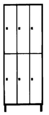 Wolf Schließfachschrank mit Füßen - HxBxT 1850 x 900 x 500 mm, 6 Fächer