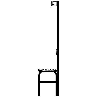 Garderobenbank mit Hakenleisten - einseitig, 3 Haken, 1015 mm