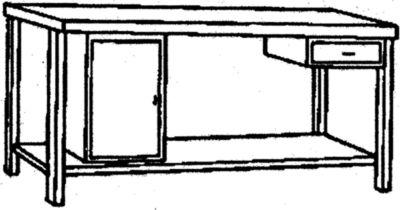 Werkbank aus Edelstahl - 1 Unterbauschrank, 1 Schublade, 1 Fachboden voll