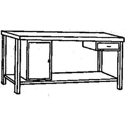 Edelstahl-Werkbank - 1 Unterbauschrank, 1 Schublade, 1 Fachboden voll