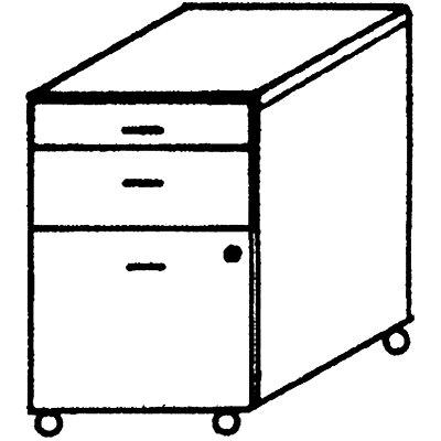 Wellemöbel VERA Rollcontainer - 1 Utensilienschub, 1 Schublade, 1 Hängeregistratur