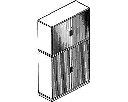 office akktiv CARINA Armoire à rideaux à lames verticales - en haut, 2 hauteurs classeurs – en bas, 3 hauteurs classeurs